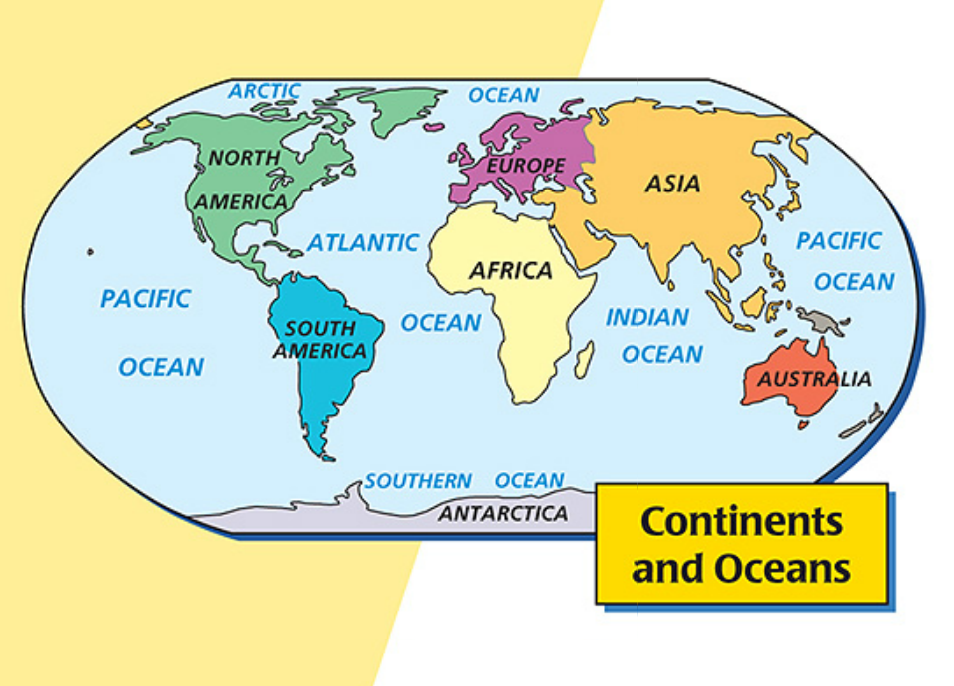 6 The World Continents Countries and Oceans The World Lesson – Oceans and Continents Worksheet